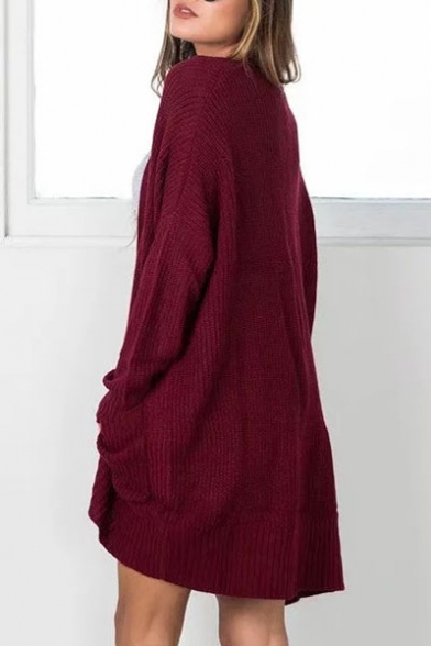 Sleeve Pockets New Arrival Long with Cardigan Loose Front Open Plain XXHwqTS