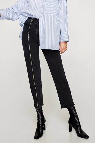 New Collection Stylish Zip Up Side Simple Plain Fringe Hem Casual Jeans