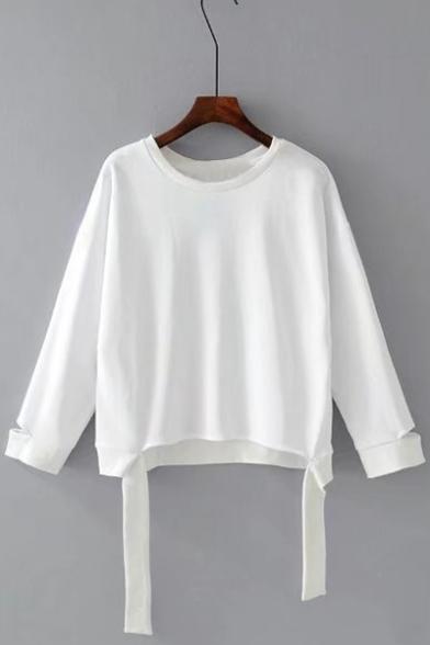 Long Sweatshirt Neck Plain Sleeve Embellished Hem Round Ribbons TfxI6qI
