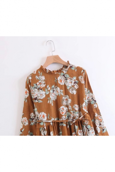 Round Neck Long Sleeve Chic Floral Pattern Midi Elegant A-Line Dress