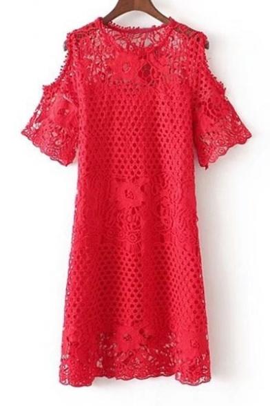 Round Neck Short Sleeve Cold Shoulder Simple Plain Midi Chic Lace A-Line Dress
