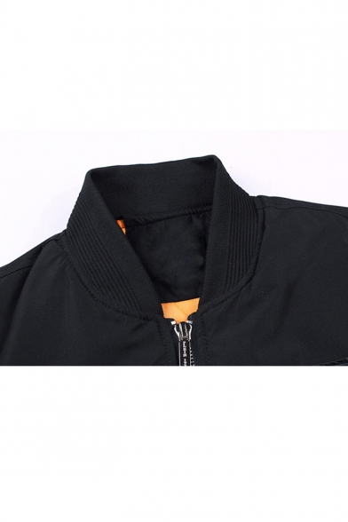 Basic Color Block Long Sleeve Stand-Up Collar Zip Up Bomber Jacket