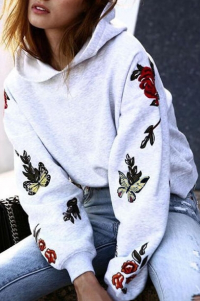 Chic Floral Embroidered Long Sleeve Casual Loose Sports Hoodie