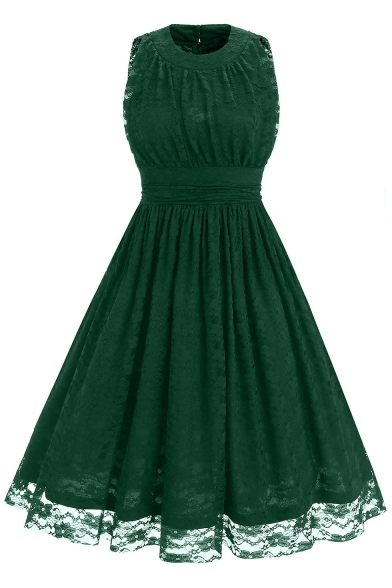 Chic Lace Inserted Simple Plain Round Neck Sleeveless Midi Fit Flared Dress