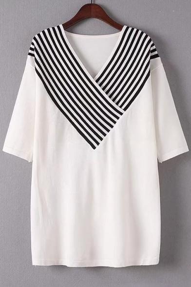 3573f926e170 Color Block V-Neck Drop Shoulder Stripe Half Sleeve Sweater ...