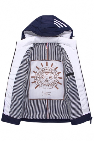 Fashion Color Block Striped Pattern Winter's Hooded Zip Up Warm Padded Coat