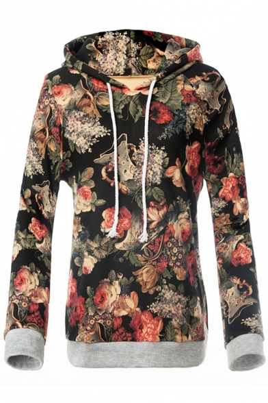 Printed Hot Sleeve Floral Retro Loose Casual Long Hoodie Popular qxrUxzt