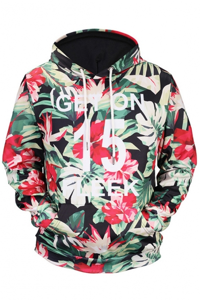 New Arrival Digital Floral Leaves Pattern Unisex Loose Leisure Sports Hoodie