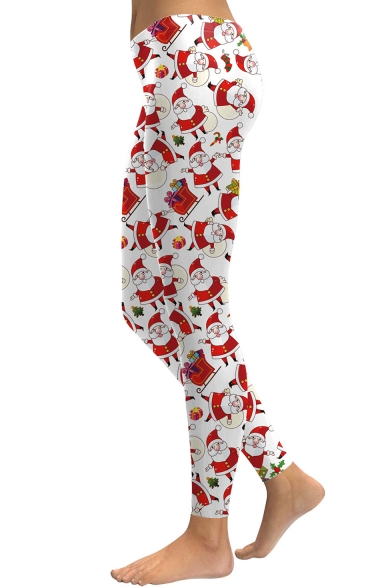 New Fashion Christmas Santa Claus Pattern Skinny Sports Leggings