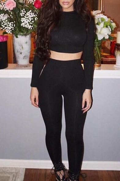 80b928f16936a Sexy Slim Round Neck Long Sleeve Plain Cropped Top with Skinny Pants -  Beautifulhalo.com
