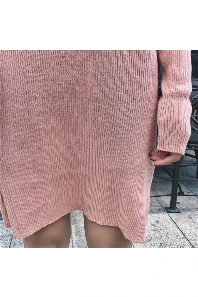 V Neck Tied Front Long Sleeve Ribbed Midi Knitted Dress