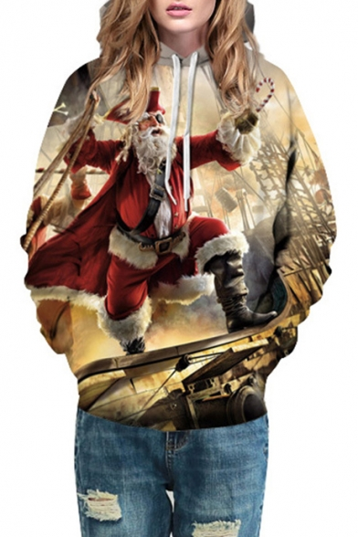 Santa Long Pattern Fashion 3D Hoodie Unisex Sleeve Pirate Casual Christmas 1aFvp