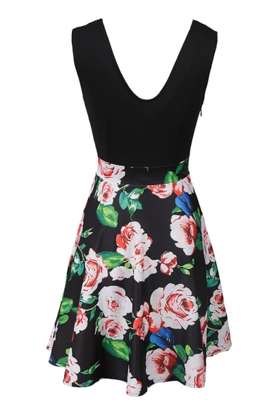 Block Line A Plunge Sleeveless Printed Fashion Min Neck Color Floral Dress 7Pn8zIwx5q