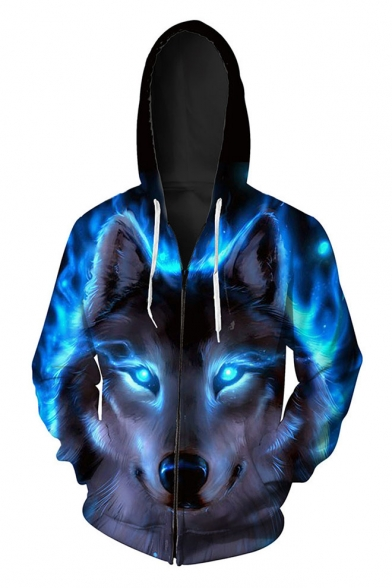 Fashion Digital Wolf Pattern Casual Oversize Sports Long Sleeve Zip Up Hoodie