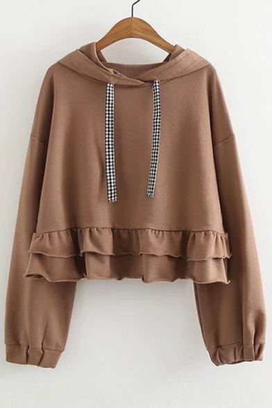 Fashion Ruffle Hem Long Sleeve Basic Simple Plain Casual Hoodie