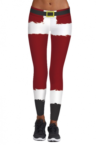 Fashion Santa Claus Color Block Elastic Waist Skinny Yoga Leggings