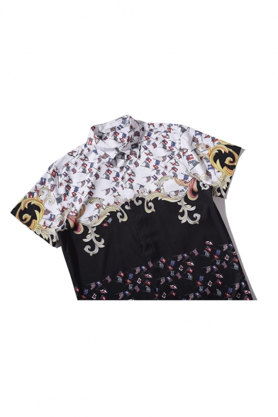 Lapel Collar Short Sleeve Color Block Pattern Buttons Down Leisure Shirt