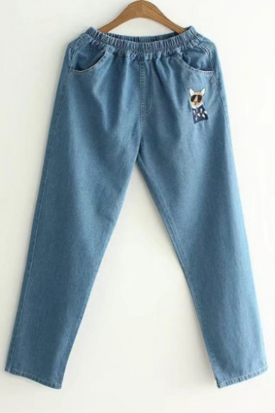 Lovely Cartoon Cat Embroidered Elastic Waist Casual Loose Jeans