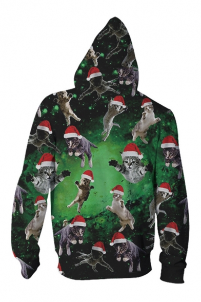 New Sleeve Pattern Oversize Zip Christmas Cartoon Up Long Hoodie Collection Cat x7wxSrfT