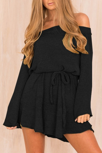 Plain Sexy A Long Off Dress Simple Shoulder Mini Line Sleeve The xffwBFYq