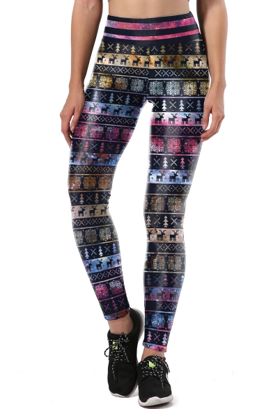 Image of Basic Elastic Waist Chic Christmas Snowflake Pattern Skinny Sports Leggings