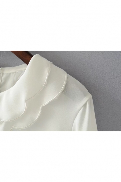 Long Collar Pullover Pan Peter Simple Chiffon Plain Sleeve Blouse Basic wC7O6q6