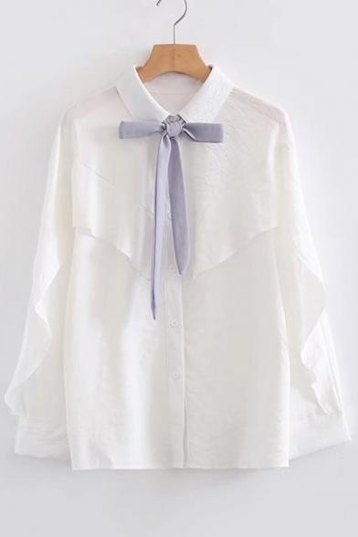 ace20ca4 Fashion Bow Tied Collar Long Sleeve Ruffle Hem Buttons Down Shirt -  Beautifulhalo.com