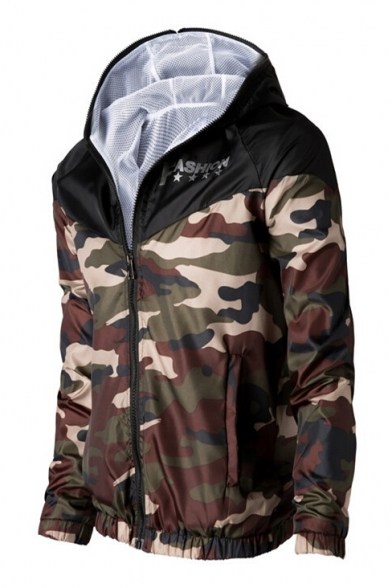 Fashion Classic Camouflage Pattern Hooded Long Sleeve Sun-Proof Coat