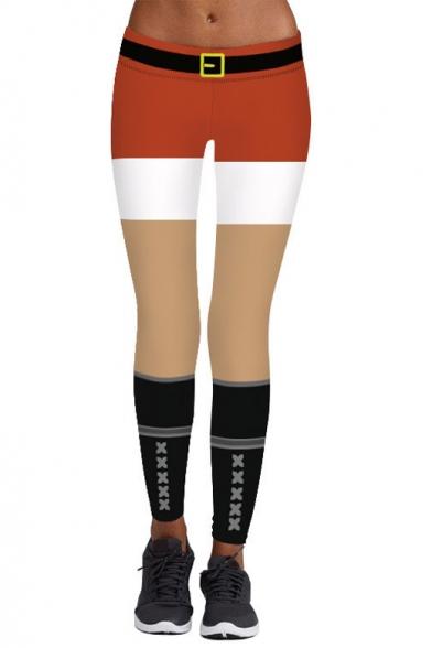 Hot Popular Chic Color Block Digital Printed Skinny Sports Leggings