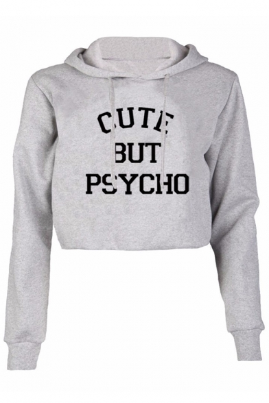 Hot Popular Fashion Letter Pattern Long Sleeve Sports Casual Cropped Hoodie, LC450021, Black;gray