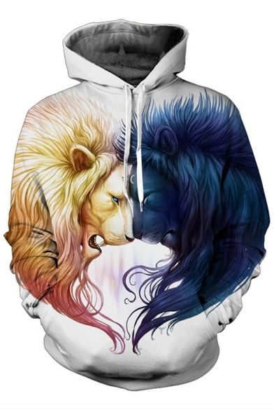 New Arrival Fashion Digital Lion Pattern Long Sleeve Sports Hoodie