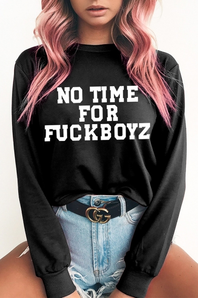 Funny Printed Arrival Round Sweatshirt Long Sleeve Pullover New Letter Neck Tqw45O4