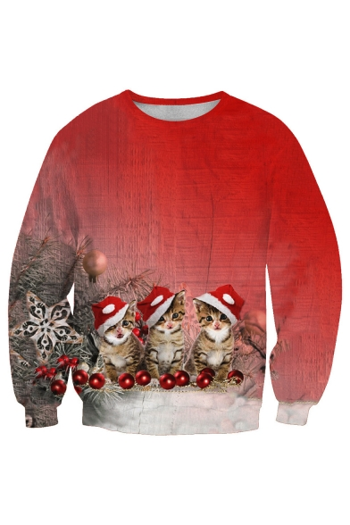 Christmas Cat Sweater.New Collection Lovely Christmas Cat Printed Long Sleeve Round Neck