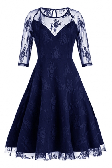 New Fashion Hollow Out Lace Inserted Half Sleeve Round Neck Plain Midi Flared Dress