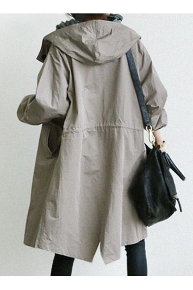 Sleeve with Pockets Plain Hooded Coat Long Button Down Oversize Trench F7v7Xq1