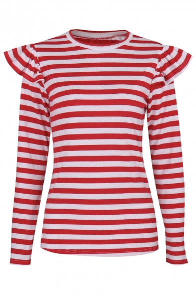 Color Print Round Tee Long Striped Basic Neck Simple Block Sleeve Z1xnwPSq