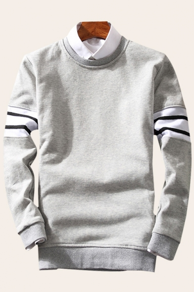 Pattern Cotton Color Round Sweatshirt Long Neck Block Comfort Sleeve Striped 0H0nvR