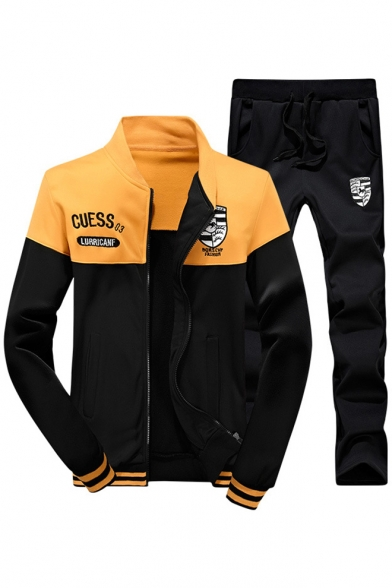 Fashion Color Block Stand-Up Collar Long Sleeve Zip Up Jacket with Sports Pants