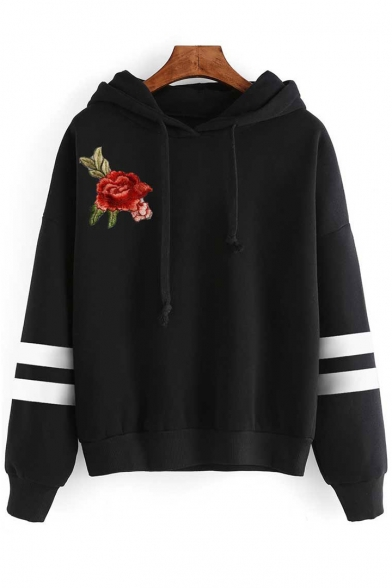 Floral Embroidered Striped Pattern Long Sleeve Leisure Loose Hoodie