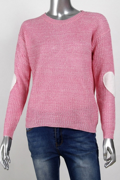 Hot Fashion Love Patched Long Sleeve Round Neck Casual Pullover ...
