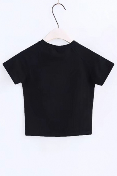 Slim Sleeve Letter Round Popular Short Shirt Hot T Cropped Pattern Neck 4Y0gqU