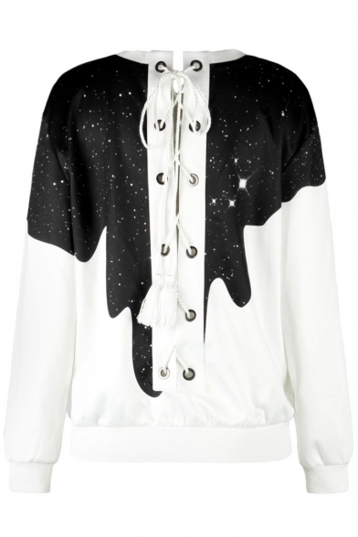 New Collection Grommet Lace-Up Back Round Neck Long Sleeve Pullover Sweatshirt