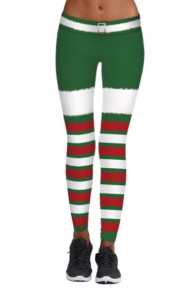 New Fashion Christmas Theme Striped Printed Elastic Waist Yoga Leggings