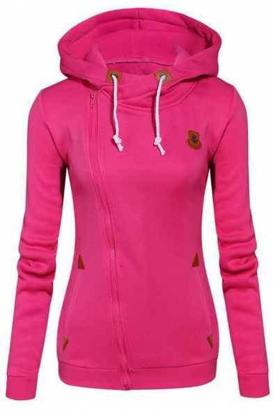 Long Zip New Plain Leisure Sleeve Up Casual Side Hoodie Trendy YxAqIS