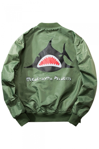 New Trendy Fashion Letter Shark Pattern Stand-Up Collar Zip Up Bomber Jacket