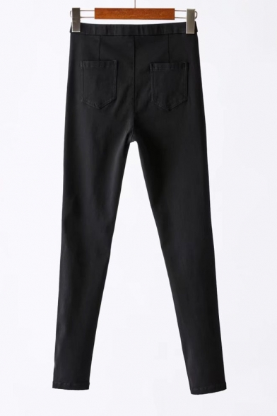 Three Buttons Waist Basic Simple Plain Skinny Pants with Pockets