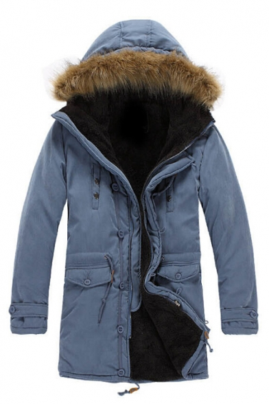 Winter's Warm Long Sleeve Fur Hooded Simple Plain Zip Up Cotton Coat