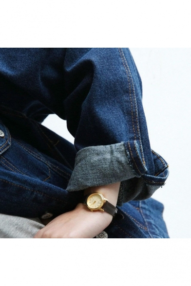 Buttons Simple Denim BF Down Collar Lapel Jacket Style Sleeve Plain Long Basic 87Rvddn
