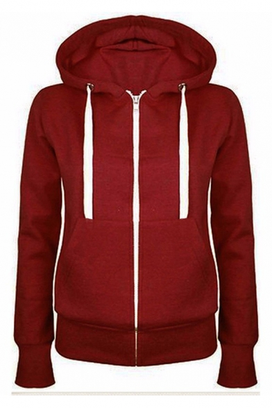 Basic Zip-Up Plain Long Sleeve Hoodie with Pockets