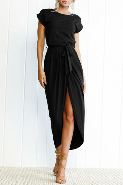 Elegant Round Neck Short Sleeve Belt Waist Plain Asymmetric Dress
